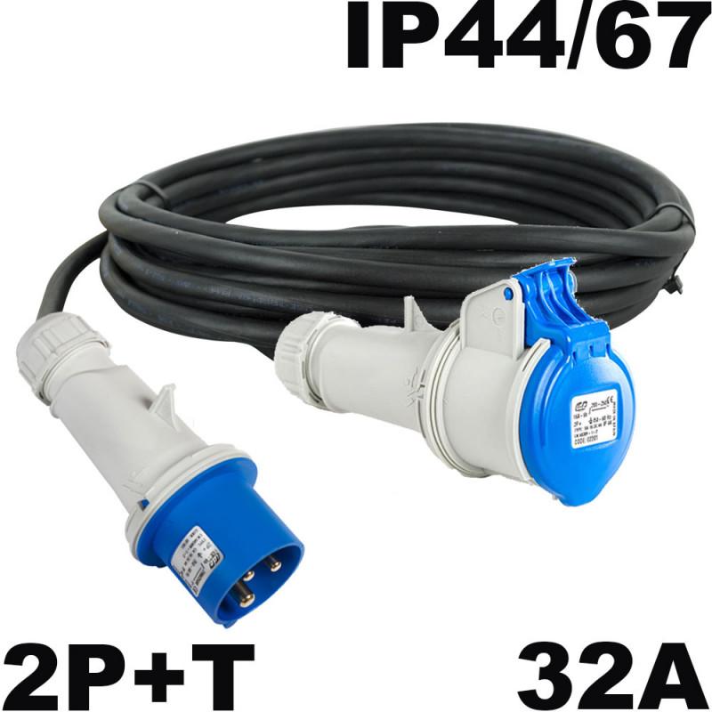 Rallonge mono 32A P17 2P+T câble souple HO7RNF 3x6mm²