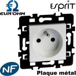 Prise électrique murale 2P+T 16A encastrable blanche - Eurohm Esprit Eur'Ohm