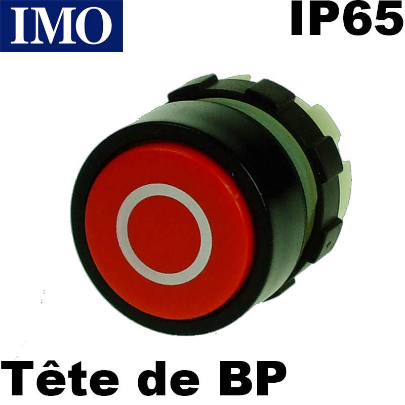 Bouton poussoir Arrêt - ROUGE - symbole 0 - étanche IP65