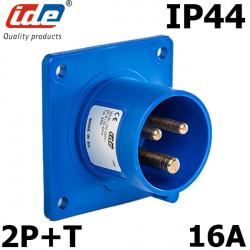 Embase male à encastrer 16A 2P+T 230V étanche IP44 ou IP67 IDE