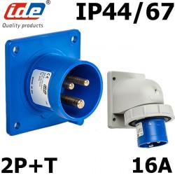 Prise male 16A 2P+T étanche IP44 ou IP67