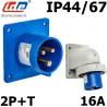 Embase male à encastrer 16A 2P+T 230V étanche IP44 ou IP67