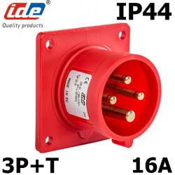 Embase male à encastrer 16A 3P+T 380V étanche IP44 ou IP67 IDE