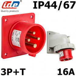 Embase male à encastrer 16A 3P+T 380V étanche IP44 ou IP67