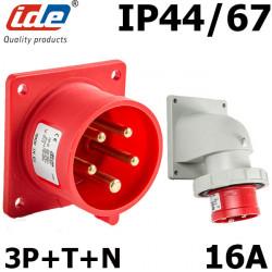 Embase male à encastrer 16A 3P+T+N 380V - Étanche IP44 ou IP67 IDE