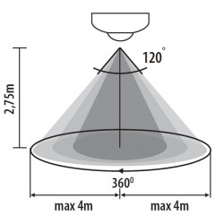 Détecteur de mouvement saillie montage apparent - 360° ZONA JQ-37-W