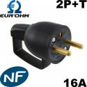 Fiche male noire en plastique avec anneau 2P+T 16A Eurohm Eur'Ohm