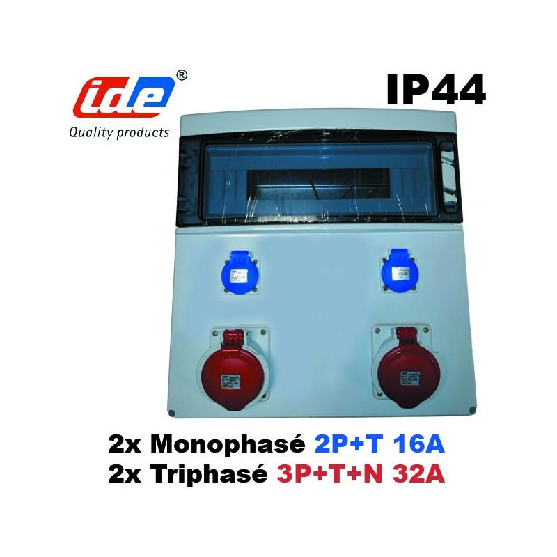 Coffret étanche 2 prises tétrapolaires 32A + 2 prises Mono - 18 modules