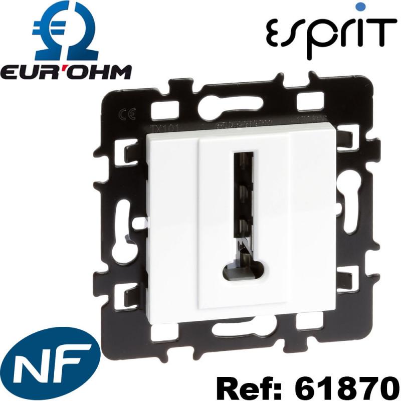 Prise téléphone en T 8 contacts Blanc Esprit Eurohm Eur'Ohm