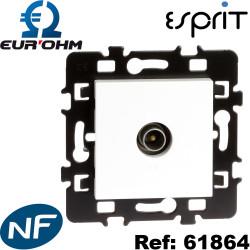 prise TV simple 0-2400 MHz blanc compatible tnt gamme eurohm 61864