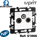 Prises TV, TV / FM / SAT compatibles TNT blanc gamme Eurohm Eur'Ohm
