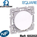 Bouton POUSSOIR 10A (Contact NO et NF) blanc SQUARE Eurohm Eur'Ohm