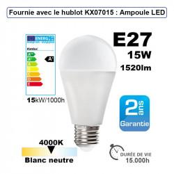 Hublot LED E27 - IK10 en polycarbonate - SANS détecteur - KANLUX Marc DL
