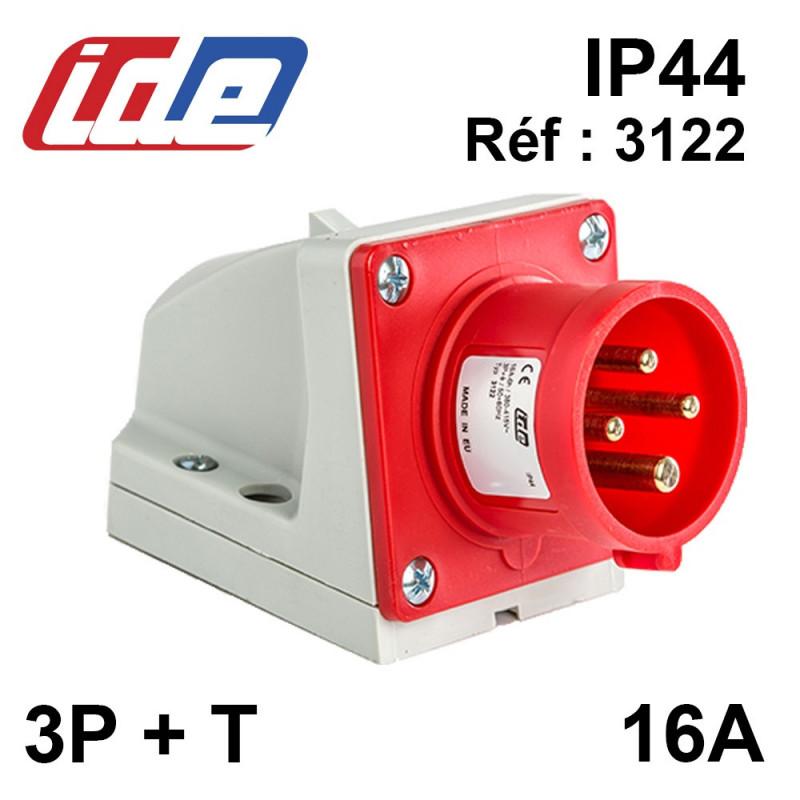 Socle de prise male en saillie 16A 3P+T 380V - Etanche IP44 gamme IDE
