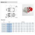 dimensions Socle de prise mâle en saillie 16A 3P+T 380V - Étanche IP67