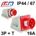 Socle de prise mâle en saillie 16A 3P+T 380V - Étanche IP44 ou IP67 IDE