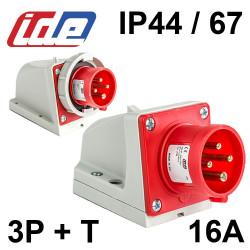 Socle de prise male en saillie 16A 3P+T 380V - Etanche IP44 ou IP67 gamme IDE