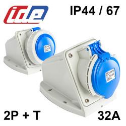 Socle de prise 32A 2P+T en saillie étanche IP44 ou IP67