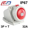 Socle de prise murale triphasé 32A - 380V - IP44 ou IP67 IDE