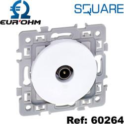 Prise TV simple 0 a 2400MHz Blanc SQUARE Eurohm compatible tnt
