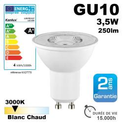 Ampoule LED GU10 TEZI Angle diffusion120-Blanc chaud 3000K-250 lumens Kanlux 27770