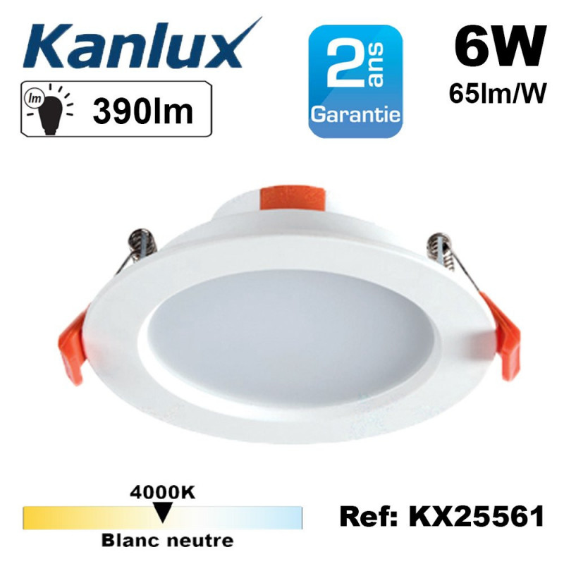 Spot LED encastrable extra plat 6/8W (eq. 65/69 watts) 4000K 20000h