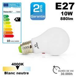 Ampoule crépusculaire LED culot E27 4000k 880lm 10W