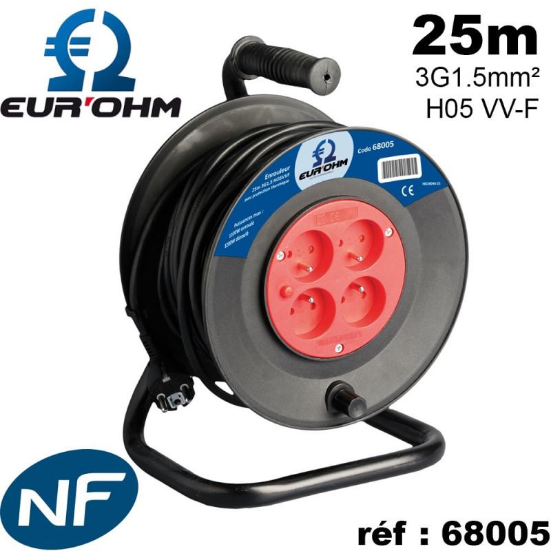 Enrouleur électrique 4 prises 2P+T 3G1.5mm² 25-50m noir H05 VV-F NF Eur'Ohm
