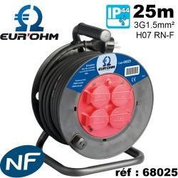 Enrouleur electrique etanche 25m cable HO7RNF qualite industrielle 68025