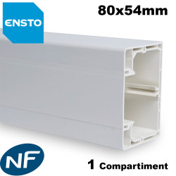 Goulotte electrique 80x54mm 1 compartiment PVC blanc RAL9010