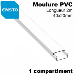 Moulure 40x20 PVC blanc,1 compartiment, fond pre-perce, lg 2m ENSTO