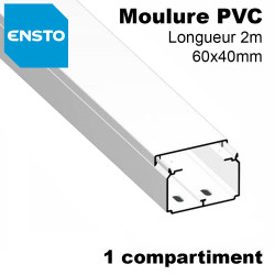 Moulure electrique 60x40 PVC blanc,1 compartiment, fond pre-perce, lg 2m ENSTO