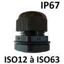 Presse étoupes noir ISO IP67 + contre écrou