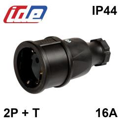Fiche Femelle caoutchouc 135mm IP44 2P+T 16A/250V