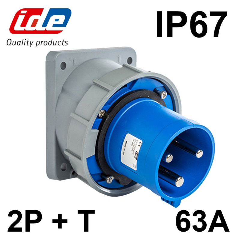 Socle male encastrable 63A 2P+T IP67 IDE