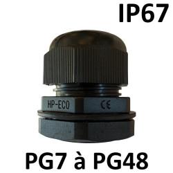 Presse étoupe noir PG IP67 + contre écrou