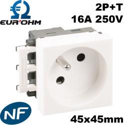 Prise de courant 45x45 2P+T clipsable goulotte certifié NF Eurohm
