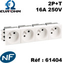 Prise de courant 45x45 2P+T clipsable goulotte certifié NF Eurohm Eur'Ohm