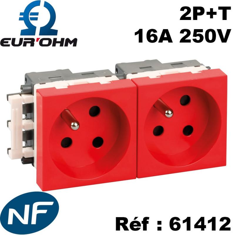 Prise de courant 45x45 2P+T rouge détrompée clipsable goulotte NF Eurohm Eur'Ohm