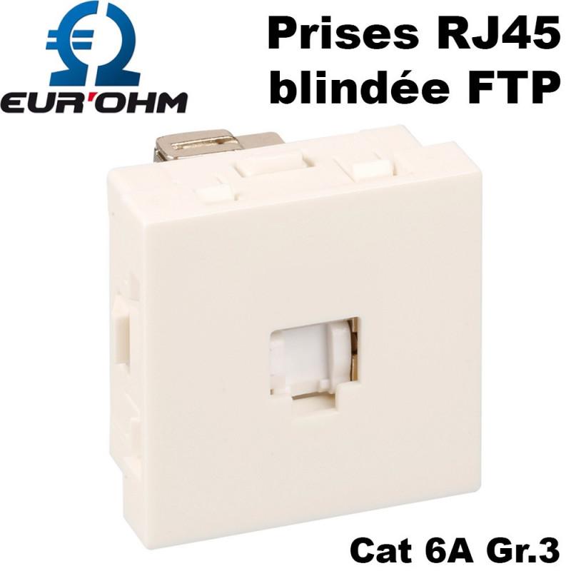 Prise RJ45 blindée FTP format 45x45 blanche Eurohm Optima Eur'Ohm