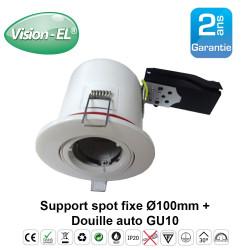 Spot GU10 BBC orientable Rond Blanc avec douille automatique Ø100 mm