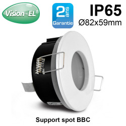 support de spot bbc rond blanc 82mm etanche ip65