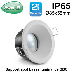 support de spot basse luminance bbc rond blanc 85mm etanche ip65