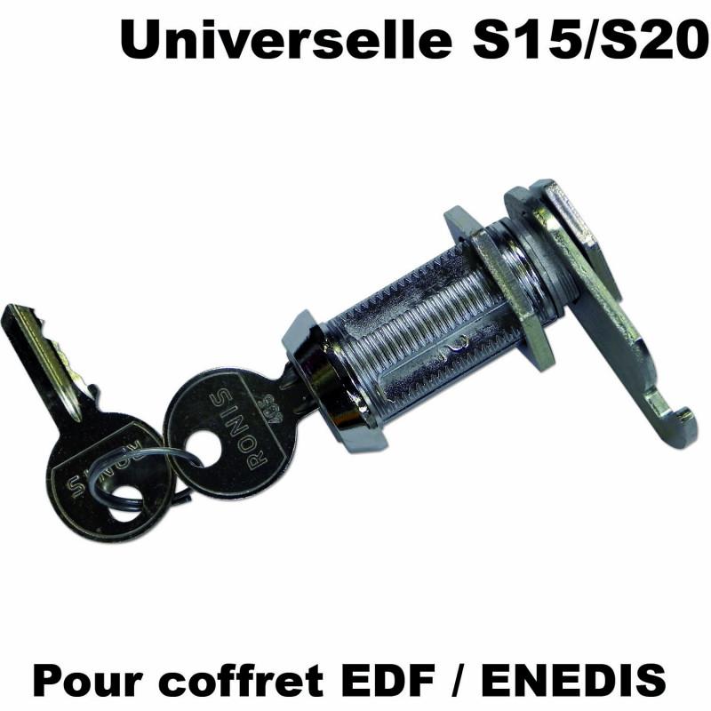 Serrure à clé universelle pour coffret S15 ou S20 avec clé F405 pour coffret EDF ENEDIS