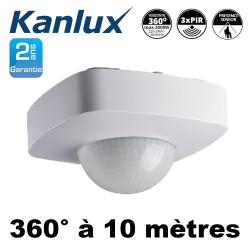 Détecteur de présence saillie SENTO 360° IP20 3 cellulles de détection PIR 2000W Kanlux