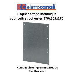 Plaque de fond métallique pour coffret polyester 270x305x170
