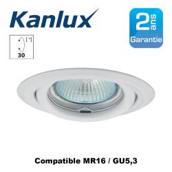 Support spot encastrable orientable 30° rond laqué Blanc 82mm pour spot LED MR16 GU5,3
