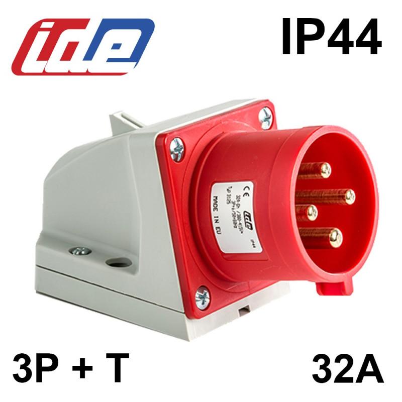 Socle de prise male en saillie 32A 3P+T 380V - Étanche IP44 ou IP67 IDE