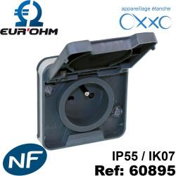 Prise étanche IP55 en encastré 2P+T NF OXXO Eurohm