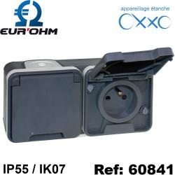Double prise horizontale étanche IP55 en saillie 2P+T 16A OXXO Eurohm